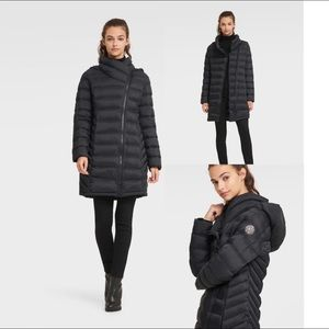 NEW✨DKNY Asymmetrical Puffer Coat w/Fur Hood